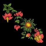 Bordado para la línea del cuello Ornamento floral en estilo del vintage Imagen de archivo libre de regalías
