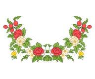 Bordado para la línea del cuello Ornamento floral en estilo del vintage Foto de archivo libre de regalías