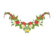 Bordado para la línea del cuello Ornamento floral en estilo del vintage Fotos de archivo