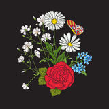 bordado Ramo con las rosas y las margaritas Fotos de archivo libres de regalías