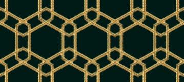 Bordado sem emenda árabe do teste padrão com estilo da linha do ouro Vetor decorativo geométrico árabe tradicional do fundo Fotografia de Stock