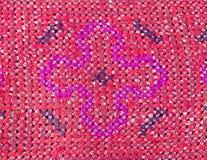 Bordado tailandés, estilo hecho a mano de la materia textil de la tribu Foto de archivo libre de regalías