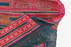 Bordado tailandés, estilo hecho a mano de la materia textil de la tribu Imagen de archivo