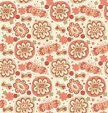 Bordado. Teste padrão floral sem emenda decorativo. Fundo retro com flores, corações e borboletas ilustração do vetor