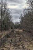 Bordadura velha da trilha railway pela grama Imagens de Stock