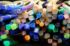 Borde colorido del palo de escoba Imagen de archivo libre de regalías