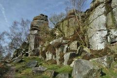 Borde de Froggatt con las piedras de molino Foto de archivo