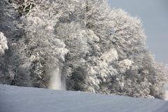 Borde de la madera después del nevadas Imagen de archivo libre de regalías