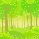 Borde de madera del paisaje del verano de la animación del fondo del vector Foto de archivo libre de regalías