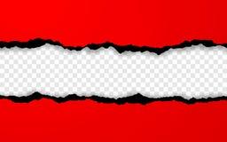 Borde de papel rasgado horizontal Ripped ajustó tiras de papel rojas horizontales Ilustraci?n del vector ilustración del vector