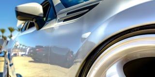 Borde del neumático y espejo lateral de un coche blanco reflexivo ilustración del vector