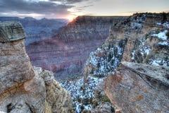 Borde del sur del Gran Cañón de la salida del sol fotos de archivo
