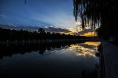 Borde imperial de la ciudad de la puesta del sol Fotografía de archivo libre de regalías