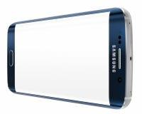 Borde negro de Sapphire Samsung Galaxy S6 con la pantalla en blanco Imágenes de archivo libres de regalías