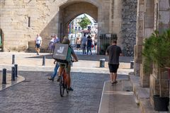 Free Bordeaux , Aquitaine / France - 11 13 2019 : Deliveroo Delivery Man Bike With Bagpack Box Bicycle In City Street Stock Photos - 164151923