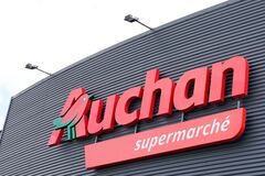 Bordeaux , Aquitaine / France - 06 06 2020 : Auchan logo sign of French group of supermarket