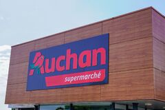 Bordeaux , Aquitaine / France - 07 30 2020 : Auchan logo and text sign of French group of supermarket store