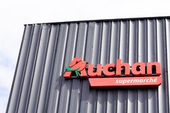 Bordeaux , Aquitaine / France - 06 06 2020 : Auchan supermarche logo sign of French group of supermarket