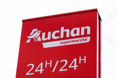Bordeaux , Aquitaine / France - 06 06 2020 : Auchan supermarket logo of French retailer sign in shopping centre