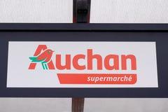 Bordeaux , Aquitaine / France - 06 06 2020 : Auchan supermarket logo sign on store French grocery retailer shop