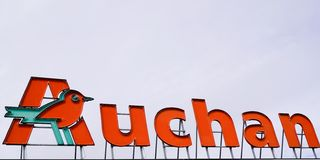 Bordeaux , Aquitaine / France - 09 23 2019 : logo of French retailer sign supermarket Auchan shopping centre