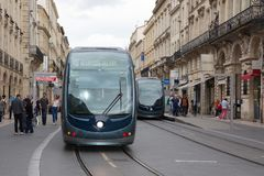 Bordeaux, Aquitaine / France - 06 11 2018 : Modern tram on the Bordeaux city stock photo