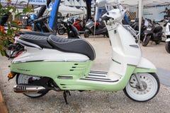 Bordeaux , Aquitaine / France - 03 03 2020 : Peugeot Django 125 150 scooter on dealership Motorbike showroom Expo modern retro