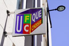 UFC Que Choisir logo and text sign office front of French consumers group agency