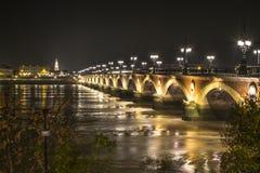 Bordeaux bridge. At night, France Stock Photos