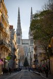 Bordeaux Cathedral Cathedrale Saint Andre seen from Vital street, in the historic medieval part of the city. stock photo