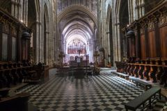 Bordeaux - Cathedrale Saint-Andre. Interior view with the Grand Organ. Bordeaux, France - May 5, 2019 : Bordeaux - Cathedrale Saint-Andre. Interior view with the royalty free stock photos
