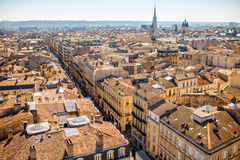 Bordeaux city in France. Aerial cityscape view on the old town of Bordeaux city during the sunny day in France stock image