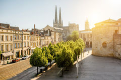Bordeaux city in France. Morning cityscape view with saint Pierre cathedral in Bordeaux city, France stock photography