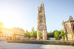 Bordeaux city in France. Morning view on the square with saint Pierre cathedral tower in Bordeaux city, France stock photo