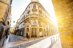 Bordeaux city in France. Street view with beautiful buildings during the sunrise in Bordeaux city, France stock photos