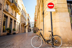 Bordeaux city in France. Street view with bicycle and road sign at the old town of Bordeaux city, France royalty free stock images