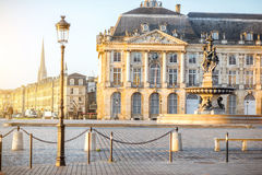 Bordeaux city in France. View on the famous La Bourse square with fountain during the morning in Bordeaux city, France stock photo