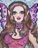 Bordeaux Fairy. Painting of a beautiful fairy with butterfly wings Stock Photos