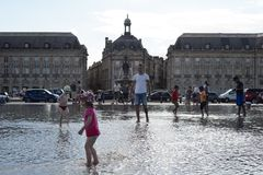 Bordeaux. FRANCE - AUGUST 13, 2015: streets of .  is a port city on the Garonne River in the Gironde department in southwestern France stock images