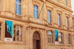 Architecture of the facade of law university. Bordeaux, France - January 26, 2018 : Architecture of the facade of law university in the city center on a winter royalty free stock image