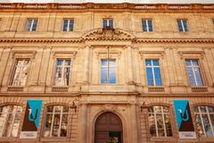 Architecture of the facade of law university. Bordeaux, France - January 26, 2018 : Architecture of the facade of law university in the city center on a winter stock photo