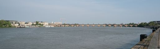 Bordeaux, France, 8 may 2018 - Bridge `Pont de Pierre` crossing royalty free stock photo
