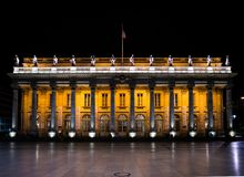 Bordeaux, France, 8 may 2018 -The grand Opera House `Grand Thé. Bordeaux, France, 8 may 2018 -The grand Opera House `Grand Théâtre de Bordeaux` at night on stock photos