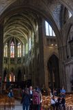 Interior view of Cathedrale Saint-Andre in Bordeaux, Aquitaine, France. Bordeaux, France - May 5, 2019: Interior view of Cathedrale Saint-Andre in Bordeaux stock photo