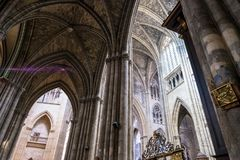 Interior view of Cathedrale Saint-Andre in Bordeaux, Aquitaine, France. Bordeaux, France - May 5, 2019: Interior view of Cathedrale Saint-Andre in Bordeaux stock photography