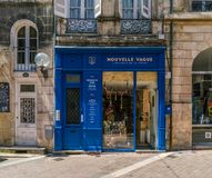 Bordeaux, France, 9 may 2018 - local shop `Nouvelle Vague` with. Herrbs and olive oil on the  `Rue de la Porte Dijeaux Stock Photos
