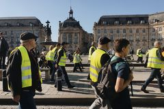 Demonstration yellow vests against increase taxes on gasoline and diesel introduced government of France. Bordeaux, France - November 17, 2018: demonstration stock image