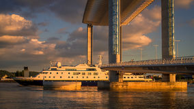 BORDEAUX/FRANCE - SEPTEMBER 18 : National Geographic Orion Passi. Ng under the New Lift Bridge in Bordeaux France on September 18, 2016 royalty free stock images
