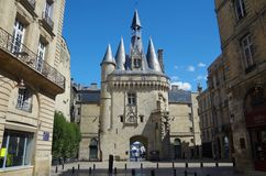 BORDEAUX, FRANCE - SEPTEMBER 6, 2015: Porte Cailhau situated in center of Bordeaux, Aquitaine, France, September 2015 Royalty Free Stock Photo