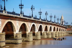 Bordeaux, France; The Stone Bridge Royalty Free Stock Photos